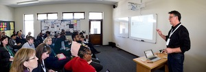 Presenting a workshop about Google Sites at the South African Summit.