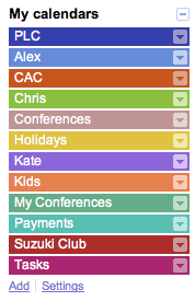 Google Calendar layers
